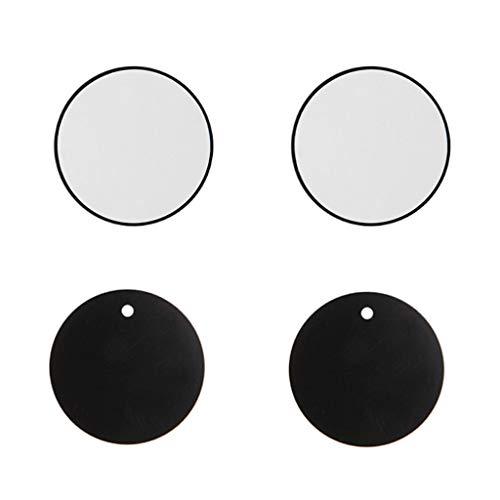 SHURROW Reemplazo de la Placa de Metal Redonda de 4 Piezas para el Cable de Datos del Soporte del GPS PDA del teléfono del Soporte del Tablero del Coche magnético Negro