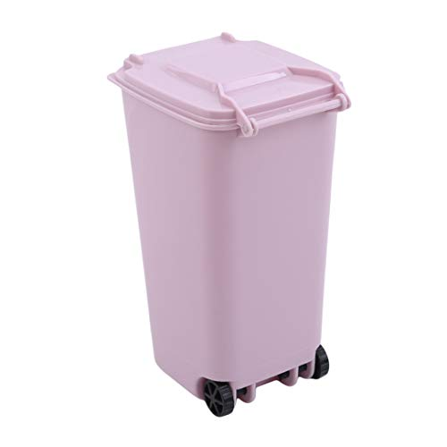 lehao Mini Pen Holder Desk Trash Can with Lid Creative Storage Bin Pen Pencil Cup Holder Office Supplies,Pink