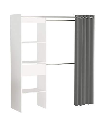 Demeyere 198454 Kleiderschrank CHICAGO mit anthraziten Vorhang Breitenverstellbar 168 x 187 x 50 cm, weiß