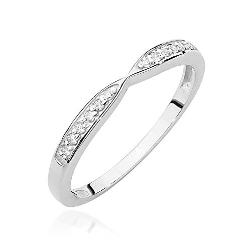 Anillo para mujer 585 de oro de 14 quilates, diamantes naturales y brillantes, 20, Diamond,