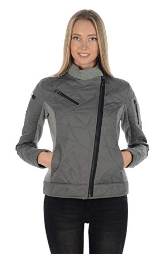 Stayer winterjas dames thermo-jas schuine ritssluiting design softshell jas grijs