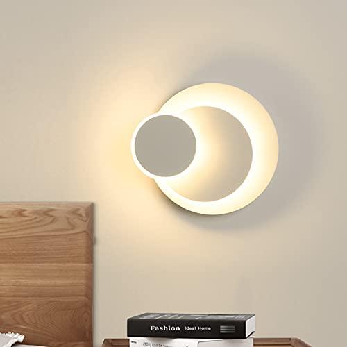 Lampada da Parete Moderna 15W, Ketom Rotonda Applique a LED Girevole a 350°, 3000K Bianco Caldo Applique Camera da letto Interni Applique per Corridoio Soggiorno, Scala