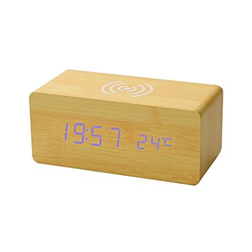 Kfhfhsdgsanz Despertador, Reloj de Alarma Digital de Madera con Temperatura de Carga,Relojes de Escritorio para Dormitorio. (Color : Yellow, Size : C)