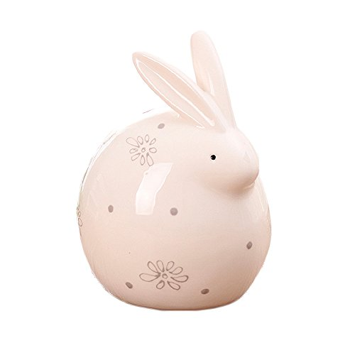 Colias Wing Home Decor-Speckle&Snowflake Pattern Rabbit Shape Design Coin Bank Money Saving Bank Toy Bank Cents Penny Piggy Bank-White/Grey