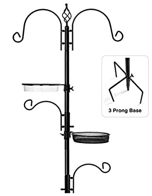 Rhino Tuff Products Bird Feeder Stand: Deluxe Platform feeding station, with 3 prong base and Water Dish for Birds - Ideal Kit for Bird Watching, Garden, Patio, and Backyard Decor 91? tall