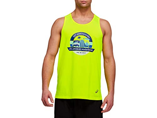 ASICS Men's LA Run Singlet Running Clothes, L, Safety Yellow