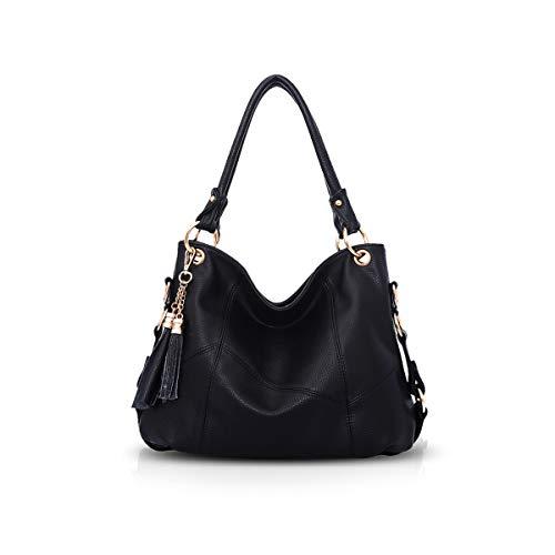 NICOLE & DORIS Damen handtasche Umhängetasche mit großer Kapazität Weiche Ledertasche shopper Neue Designer handtasche Top Griff Taschen mit Quaste Schwarz