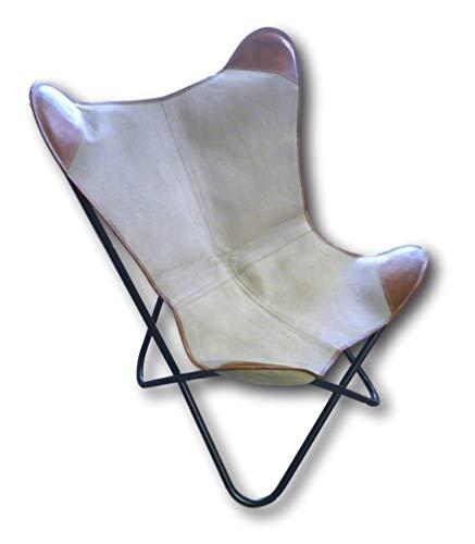 Urban Design Retro Vintage Lounge Butterfly - Silla relax con funda de piel