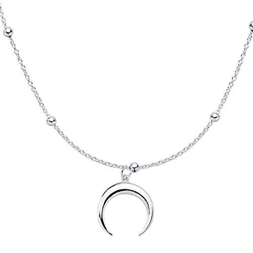 Iyé Biyé Jewels - Collar Colgante Mujer niña Luna Invertida 15 Mm Plata de Ley 925 Cadena Bolitas 40 + 3 cm Ajustable