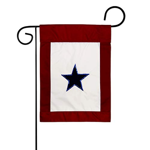 Two Group GS108042-P2 Blue Star Service Americana Military Applique Decorative Vertical 13' x 18.5' Double Sided Garden Flag Set Metal Pole Hardware