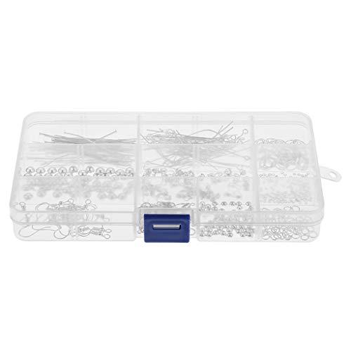 Fenteer 10 Estilo 490 Piezas/Caja Kit de Fabricación de Joyas con Anillos Abiertos, Cierres de Langosta, Cuentas de 4 Mm 6 Mm Y Ganchos para Pendientes - Plata, Individual