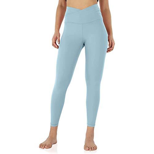Pistazie - Pantalones de yoga para mujer, pantalones de chándal de cintura cruzada con bolsillo interior, medias de running