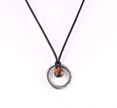 NC188 Collares con Colgante de Piedra para Mujer Collar con Colgante de Cristal de Ojo de Tigre Rojo con Cuentas de Piedra Natural envueltas Redondas de Plata con Cadena de Cuero Regalo