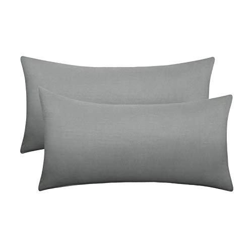 eletecpro, federa per cuscino 40 x 60 cm, confezione da 2 pezzi, colore grigio, 100% microfibra, con chiusura a albergo, anallergica, super morbida, anti-piega, non scolorisce, delicata sulla pelle