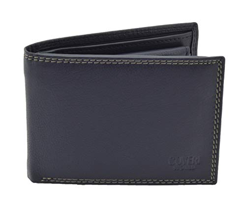 COVERI Wallet Man in Genuine Leather, with Card Holder and Gift Box Blau Klassisch 1 -