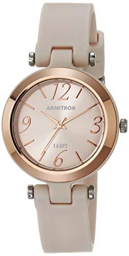 Armitron Sport Reloj con correa de resina para mujer, 25/6438, Rosa pálido/Beige/Oro rosa,