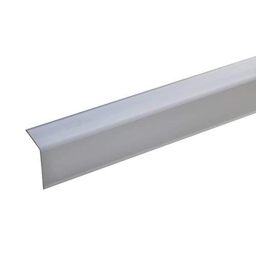 Aluminium traphoekprofiel - 100 cm, 42 x 30 mm ✓ antislip ✓ robuust ✓ eenvoudige montage | traprandprofiel, trapprofiel van aluminium | ongeboord trapprofiel | traprandbescherming voor laminaat, tapijt. zilver 135 cm.