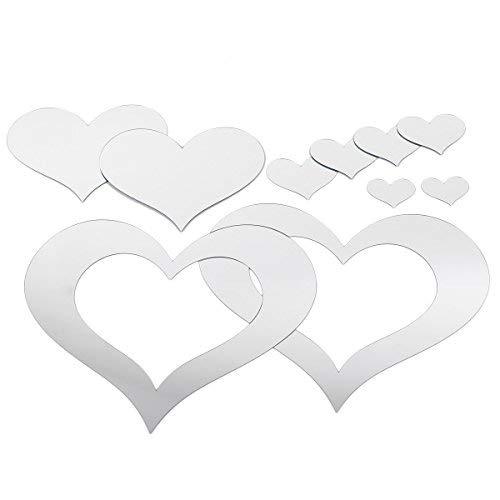 Anladia Spiegelfliesen Wandspiegel Selbstklebend, 10 TLG Herzen-Spiegel Silber Dekospiegel Aufkleber zum Wanddekoration DIY