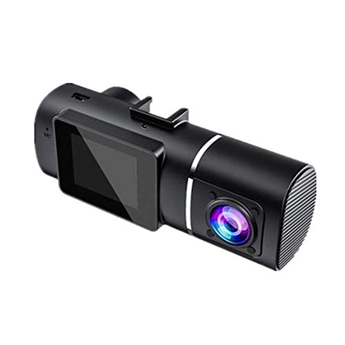 Nobranded Cámara de Doble salpicadero, 1080P Frontal y 720P Cabina 30fps cámara de Coche, Ambos Sensor Sony, visión Nocturna infrarroja, Pantalla LCD de 1,5',