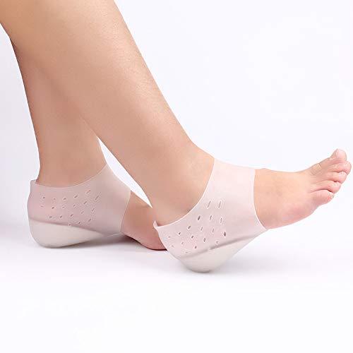 AODOOR 1 par de plantillas de aumento de altura, almohadillas de elevación de talón invisibles, almohadillas de gel de silicona suave para el talón, soporte de arco medias inserciones calcetin