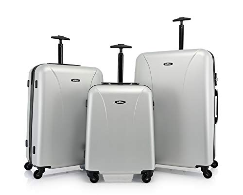 BONTOUR Vacation Hard Suitcase Trolley Lightweight Travel Case with TSA Lock 2 Year Warranty. Silver Silver Set of 3