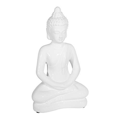 Sagebrook Home 14798 Ceramic, 14' Sitting Buddha, White