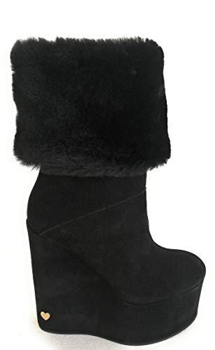 Twin Set Simona BARBIERI Schuh Damen Stiefel Tronetto Zeppa 13 cm Plateau 6 cm, Schwarz - Schwarz - Größe: 35 EU