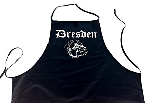 ShirtShop-Saar Dresden (Bulldogge/Hund); Städte Schürze (Latzschürze - Grillen, Kochen, Berufsbekleidung, Kochschürze), schwarz