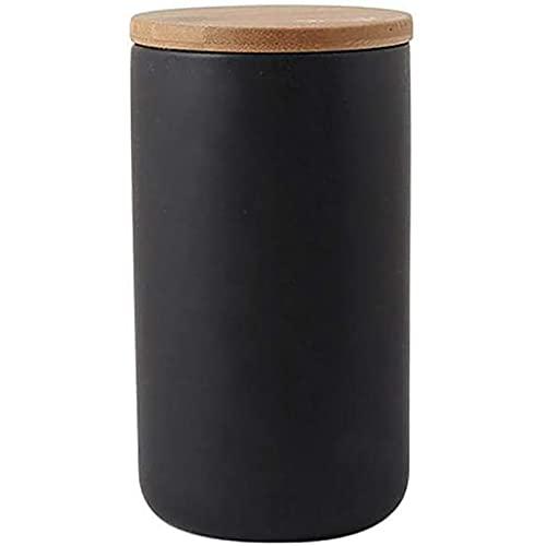 Tongliya Recipiente de cerámica, tapa de bambú hermética, recipiente de almacenamiento de cerámica de diseño moderno para la grabación de té, café, especias, etc. Código L (negro)