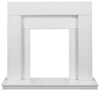 Adam Malmo Fireplace in Pure White & Black/Pure White, 39 Inch