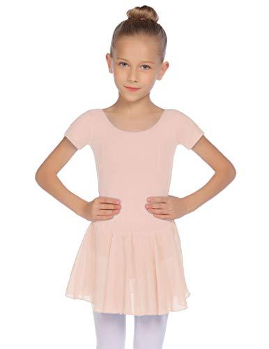 Balancora Mädchen Ballettkleidung Kurzarm Ballettkleid Baumwolle Ballettanzug Balletttrikot Tanzbody Tanzkleid mit Rock Tütü, Hellrosa, 150(7-8 Jahre)