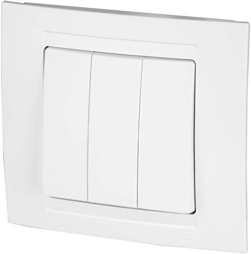 Interruptor triple de serie todo en uno, marco + montaje empotrado + cubierta (Serie M1), color blanco