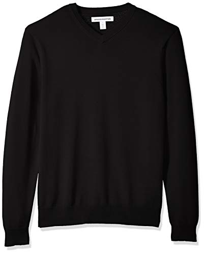 Amazon Essentials Men's V-Neck Sweater, Black, Medium