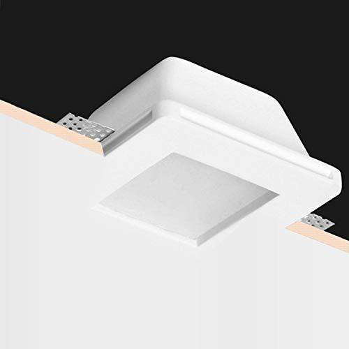 ABM SRLS Porta faretto a incasso quadrato a scomparsa in gesso ceramico verniciabile con vetro opaco con anello blocca faretto Per faretti GU10 100% Made in Italy