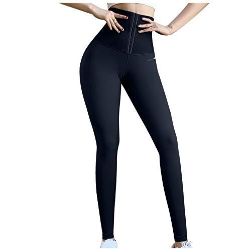 Leggins Fajas Reductoras Deportivos Mujer 2021 Liso Mallas de Cintura Alta Negra Elásticos de Deporte para Yoga Running