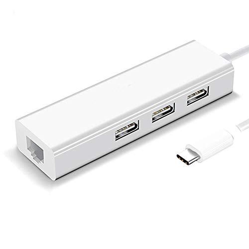 TEEKAR Adaptador USB C a Ethernet, 3 puertos USB 2.0 Hub con puerto Ethernet de 100 m, Plug and Play 1000 Mbps Mini Tipo C a RJ45 Adaptador de conversión de red para portátiles