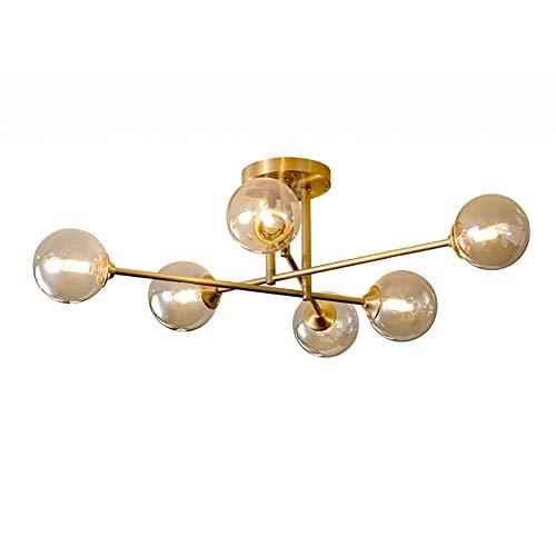 Vintage Cristal Sputnik Chandeliers,Montaje Semi-lavado Luz De Techo Contemporáneo Durante La Iluminación G9 Luz De Cocina Clásica Para La Sala De Estar Del Comedor-Cobre 6 cabezas
