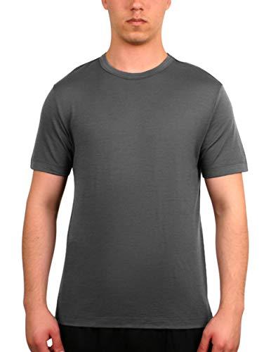 Merino.tech 100% NZ Organic Merino Wool Lightweight Men's T-Shirt + Merino Wool Hiking Socks Bundle | Short Sleeve Crew Tee | Moisture Wicking | No Odor | UPF 25 (Medium, Grey)