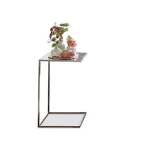 Loberon Beistelltisch Iglesias, Eisen, H/B/T ca. 56/35 / 35 cm, antiksilber