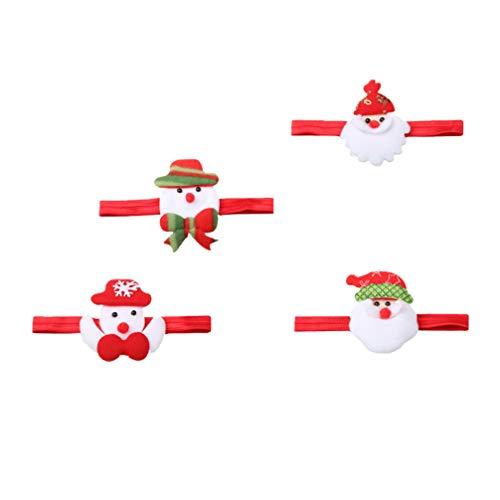 Lurrose Kerstman Hoofdband Sneeuwman Haar Band Cartoon Kerstman Headdress voor Kerstmis Holiday Party 4 Stks
