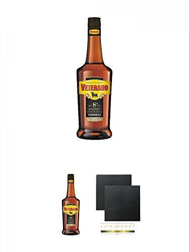 Osborne Veterano 8 Jahre spanischer Brandy 0,7 Liter + Osborne Veterano 8 Jahre spanischer Brandy 0,7 Liter + Schiefer Glasuntersetzer eckig ca. 9,5 cm Ø 2 Stück