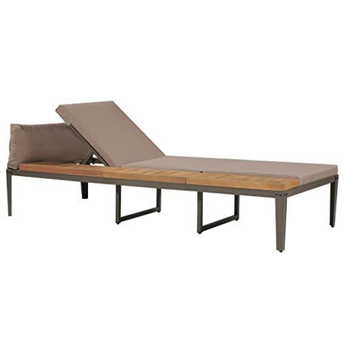 Festnight Sonnenliegen mit Polstern Lounge Liegestuhl Gartenliege Gartenmöbel | Holz & Stahl | Verstellbare Rückenlehne | Massivholz Akazie 200 x 80 x (36-80) cm