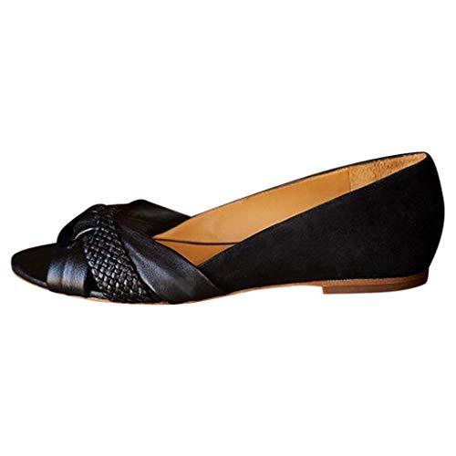 BaojunHT® Damen-Sandalen, offener Zehenbereich, weiches Leder, Loafer, flache Schuhe, Schwarz - Schwarz  - Größe: 37.5 EU