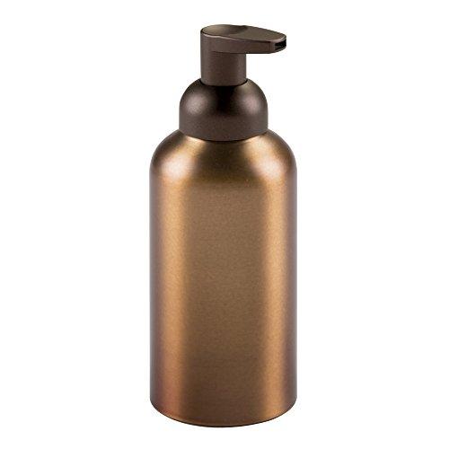 InterDesign Metro distributeur de savon mousse rechargeable, accessoire de salle de bain en aluminium et pompe en plastique, couleur bronze