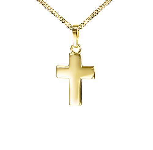 Kreuz-Anhänger mit Panzer-Kette vergoldet für Damen, Herren und Kinder in hochglanz poliert Goldkreuz als Kettenanhänger 750 Gold 18 Karat + Schmuck-Etui