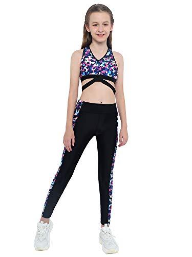 Aislor Ropa Deportiva Niñas Conjunto de Deporte Crop Top Deportivo + Leggings Pantalones Elásticos Chandales Infantil Traje de Deporte Yoga Danza Fitness Jogging Negro 9-10 años