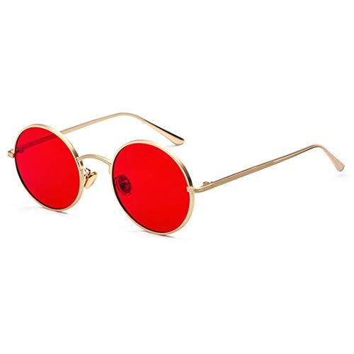 Inlefen Occhiali da sole Uomo Donna Round Retro Vintage Round Style Occhiali da sole Colored Metal Frame Glasses Glasses Rosso oro