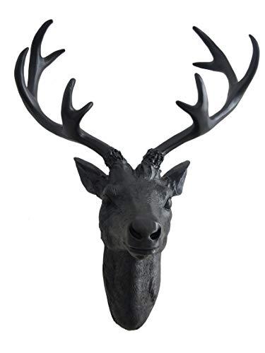 Spetebo Hirschgeweih 10 Ender - Wand Deko in schwarz 40x30 cm - Hirschkopf Skulptur Jagd Geweih