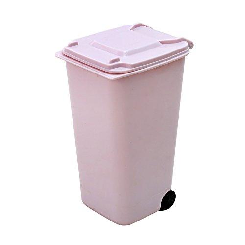 Oyfel Tischmülleimer Mini Mülleimer für Schreibtisch Mülleimer mit Deckel Räder Kunststoff Mülleimer Klein sortierte Farbe 10.5 * 8CM