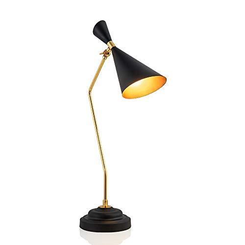 DKee Lámparas de mesa Sencillo De Oro Negro Más Hierro Forjado Arte Lámpara Del Sitio De Modelo De Estudio En El Hogar Sala De Estar Lámpara De Mesita De Noche 18 * 65cm